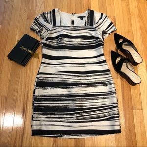 Banana Republic B&W brushstroke stripe dress
